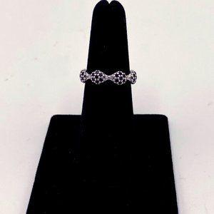 PANDORA SS 8 Pod Black Crystal Pave Ring Size 8